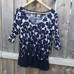WHBM Cold Shoulder Peplum Top
